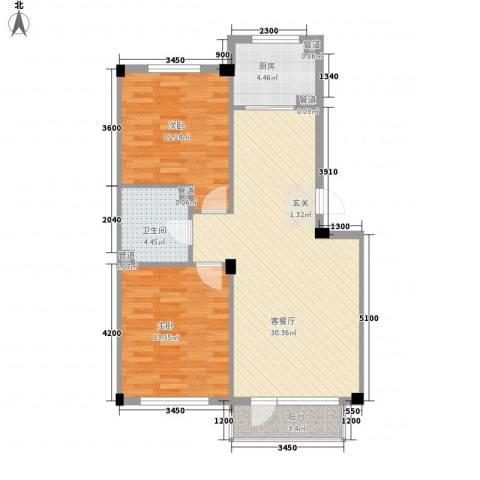 柏林水郡2室1厅1卫1厨84.00㎡户型图