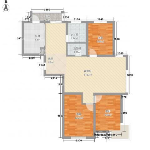 移动馨城3室1厅2卫1厨139.00㎡户型图
