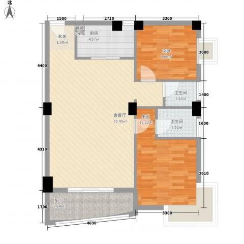 华森公园首府2室1厅2卫1厨89.00㎡户型图