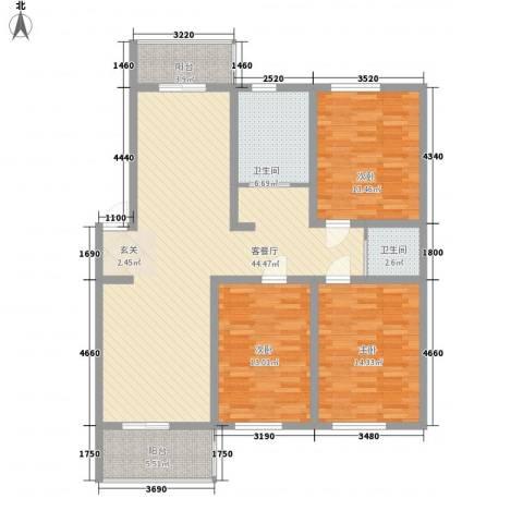 蓬莱花园3室1厅2卫0厨103.96㎡户型图