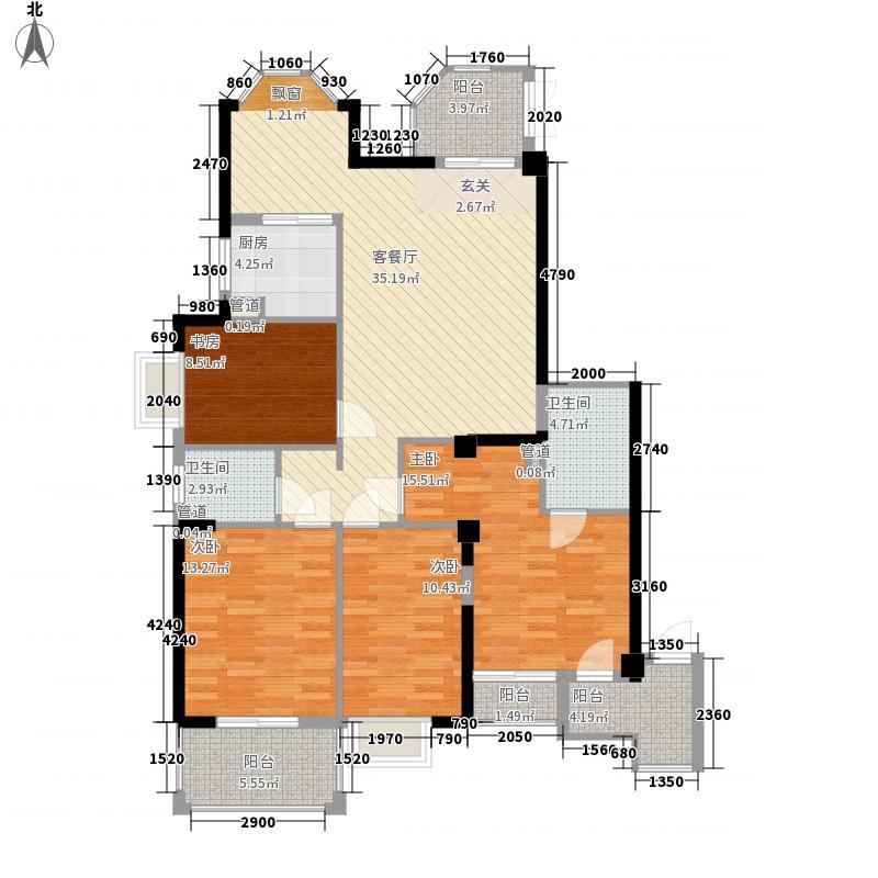 泰禾红峪156.00㎡泰禾红峪户型图A14#01-02-11-12单元户型4室2厅2卫1厨户型4室2厅2卫1厨