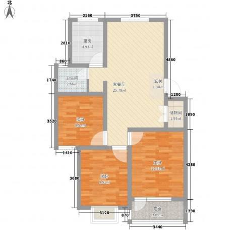 福湾新城春风苑二区3室1厅1卫1厨102.00㎡户型图