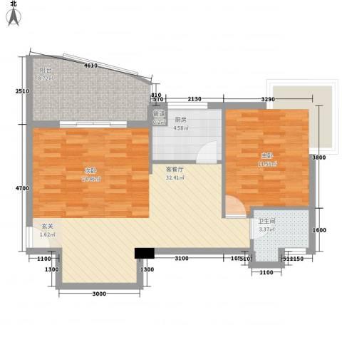 华森公园首府1室1厅1卫1厨60.84㎡户型图