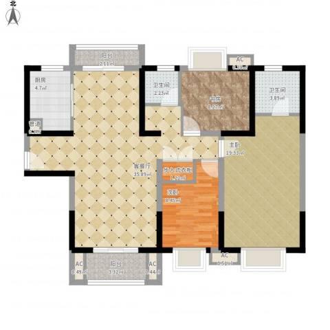 招商海德名门3室1厅2卫1厨133.00㎡户型图