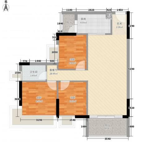 保利西子湾3室1厅1卫1厨92.00㎡户型图