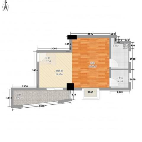 华森公园首府1卫1厨37.01㎡户型图