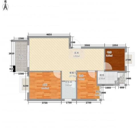 愉翠雅园3室1厅1卫1厨83.00㎡户型图