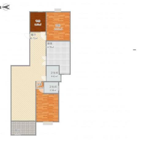 凯润花园3室1厅2卫1厨152.00㎡户型图