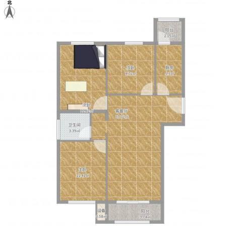 凯瑞国际3室1厅1卫1厨106.00㎡户型图