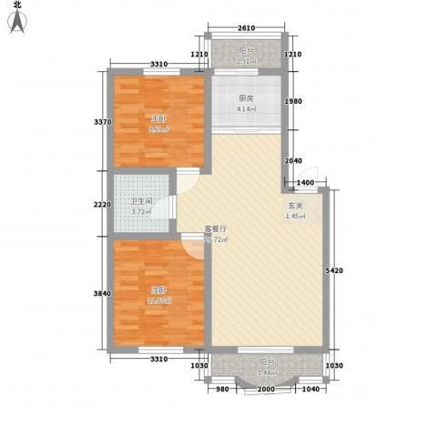 鑫丰金园2室1厅1卫1厨113.00㎡户型图