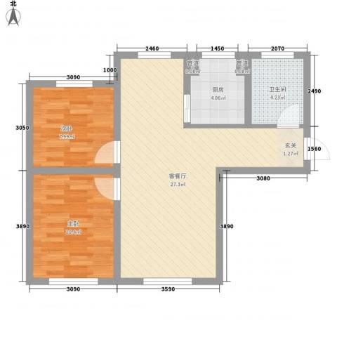 红荔花园2室1厅1卫1厨78.00㎡户型图