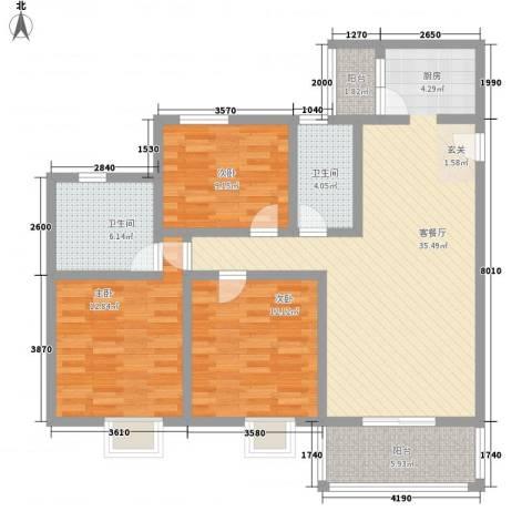 阳禾洪福秀景3室1厅2卫0厨87.55㎡户型图
