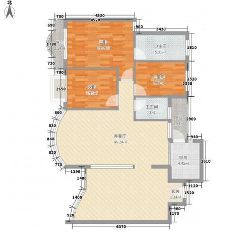 红荔花园3室1厅2卫1厨130.00㎡户型图