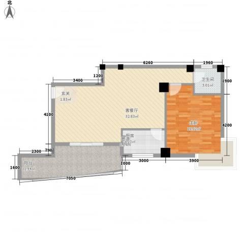 华森公园首府1室1厅1卫1厨85.00㎡户型图
