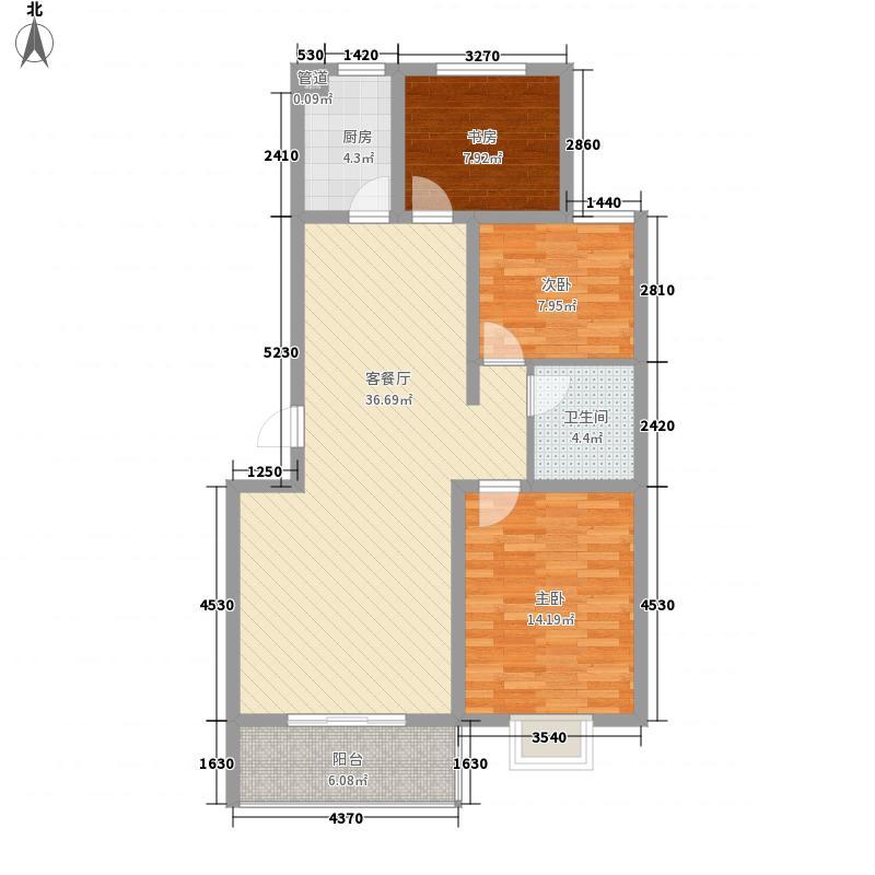 澳昌状元府116.10㎡一期B户型3室2厅1卫1厨