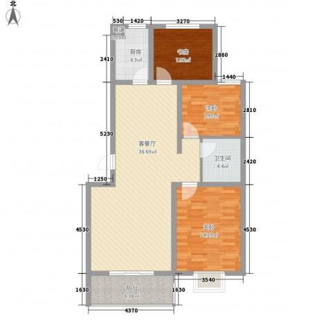 澳昌状元府3室1厅1卫1厨116.00㎡户型图