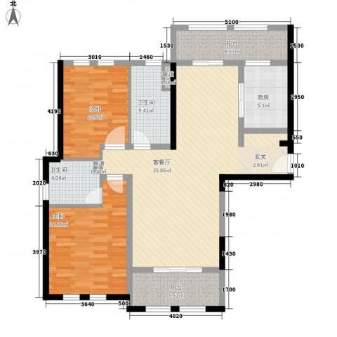 安亭瑞仕华庭2室1厅2卫1厨126.00㎡户型图