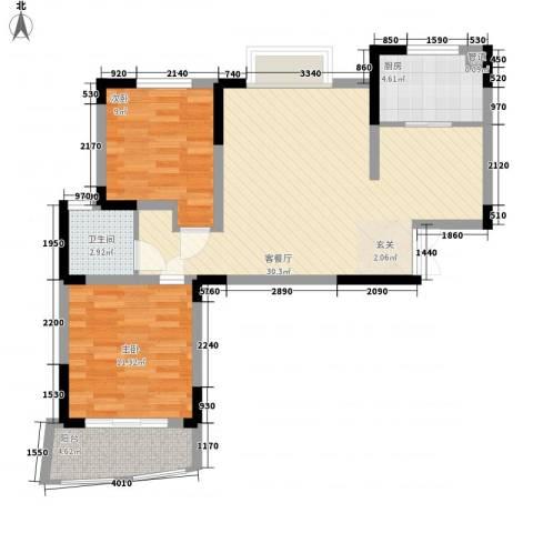 利港银河新城2室1厅1卫1厨89.00㎡户型图