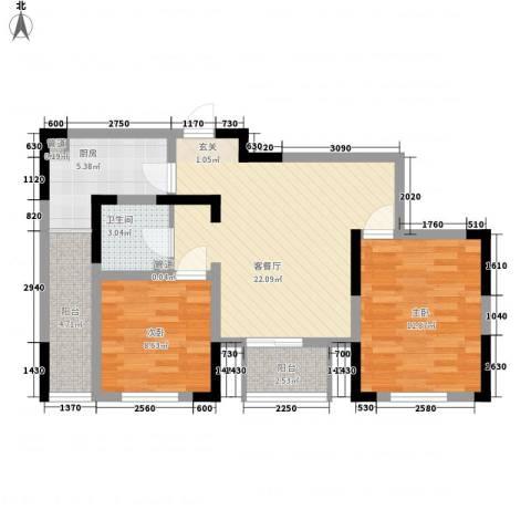 苏尚帝景2室1厅1卫1厨88.00㎡户型图