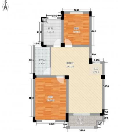 安天国际城2室1厅1卫1厨86.00㎡户型图