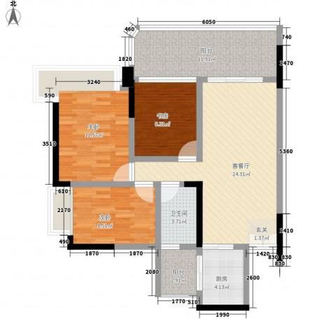 中环大厦3室1厅1卫1厨110.00㎡户型图