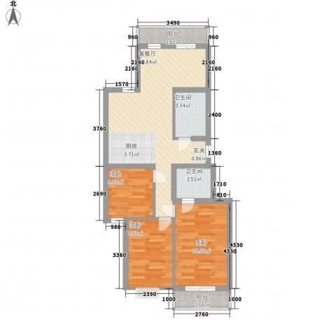 解放南路网通宿舍3室1厅2卫0厨82.00㎡户型图