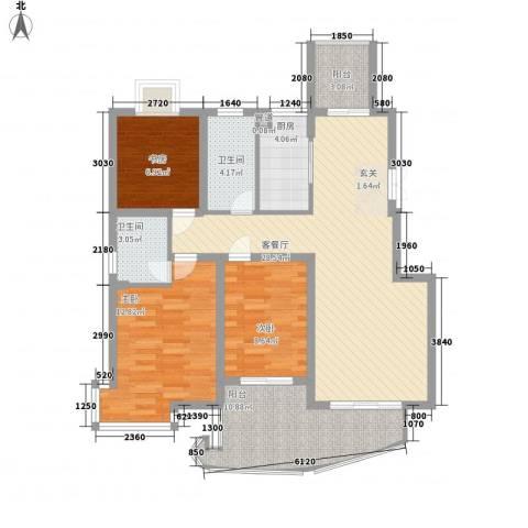 骏和天城3室1厅2卫1厨118.00㎡户型图