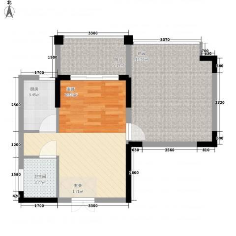 宝安椰林湾1厅1卫1厨52.00㎡户型图