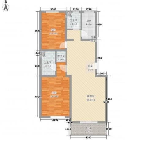 巨海城九区2室1厅2卫1厨118.00㎡户型图