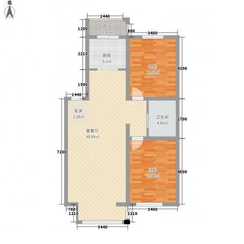 彤利紫竹茗郡2室1厅1卫0厨98.00㎡户型图
