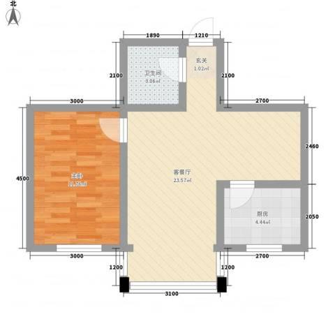 彤利紫竹茗郡1室1厅1卫1厨56.00㎡户型图