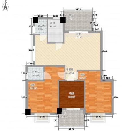 云龙海岸花园三期3室1厅2卫1厨115.00㎡户型图