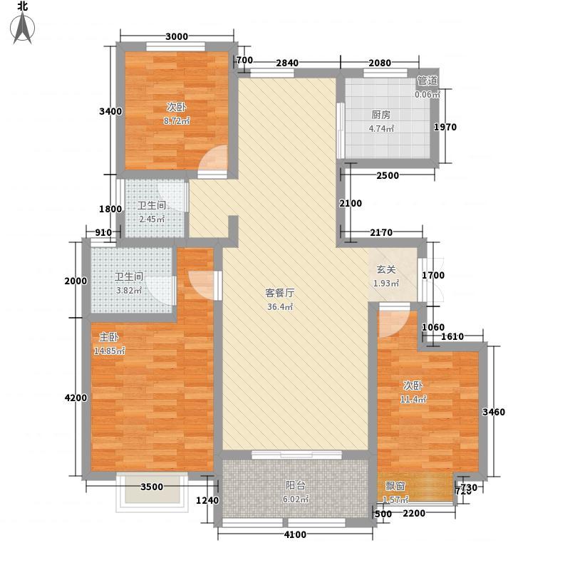 华强领秀城户型图小高层E户 3室2厅2卫1厨