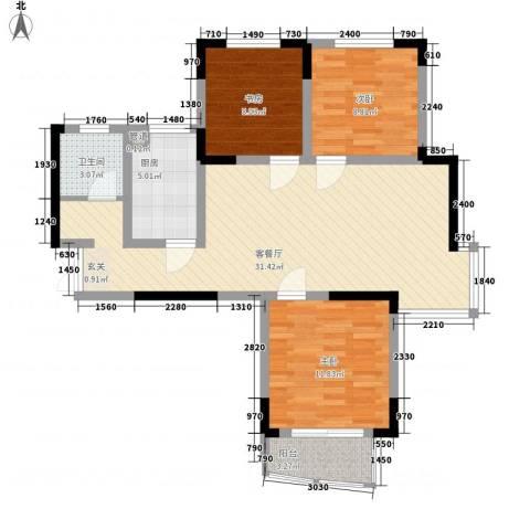 利港银河新城3室1厅1卫1厨104.00㎡户型图