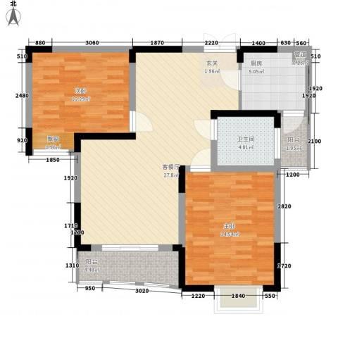 利港银河新城2室1厅1卫1厨100.00㎡户型图