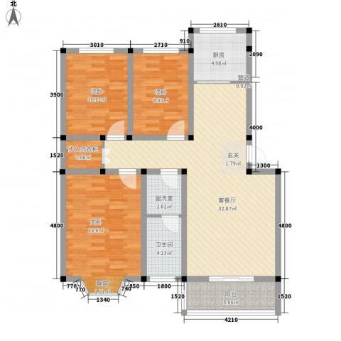 偃师龙腾花园3室1厅1卫1厨126.00㎡户型图