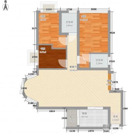 星河传说迪纳公寓3室1厅2卫1厨100.00㎡户型图