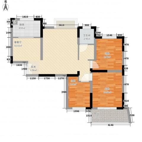 利港银河新城3室1厅1卫1厨105.00㎡户型图