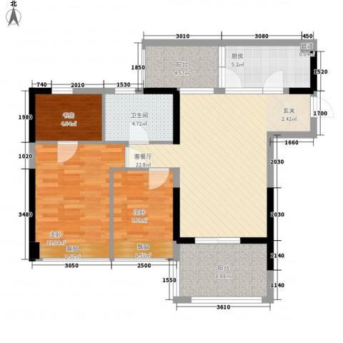 星河传说迪纳公寓3室1厅1卫1厨86.00㎡户型图