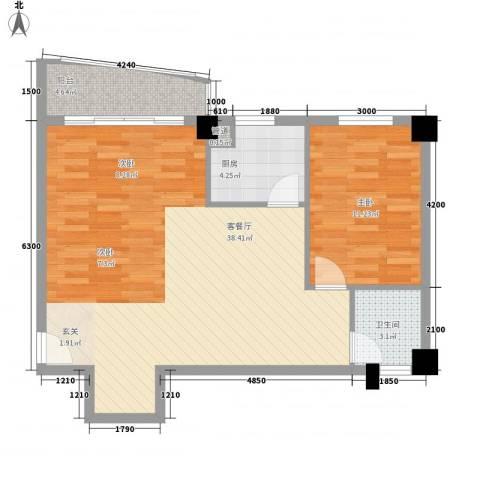 华森公园首府1室1厅1卫1厨82.00㎡户型图