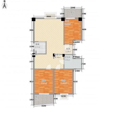 云龙海岸花园三期3室1厅1卫1厨117.00㎡户型图