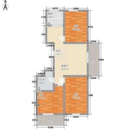 怡安嘉园3室1厅1卫1厨123.00㎡户型图