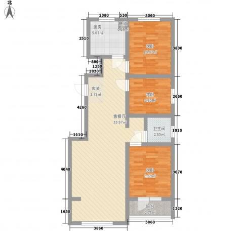 幸福小镇3室1厅1卫1厨71.27㎡户型图
