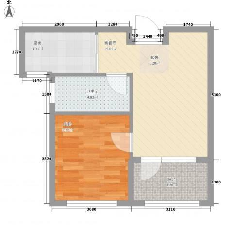 万隆达金领地1室1厅1卫1厨57.00㎡户型图