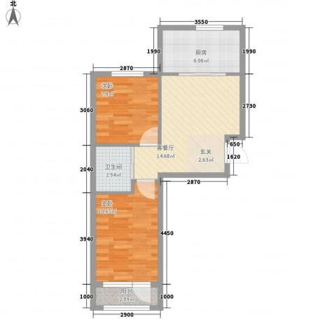 万隆达金领地2室1厅1卫1厨72.00㎡户型图