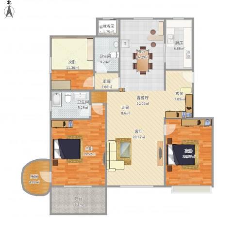 开世嘉年3室1厅2卫1厨175.00㎡户型图