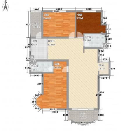 荣耀天地3室1厅2卫1厨120.00㎡户型图