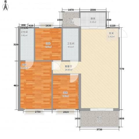 盈彩美居菁品园3室1厅2卫1厨86.00㎡户型图