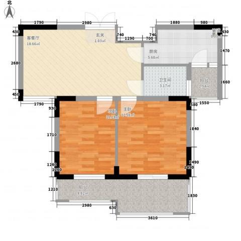 东方华庭2室1厅1卫1厨69.83㎡户型图