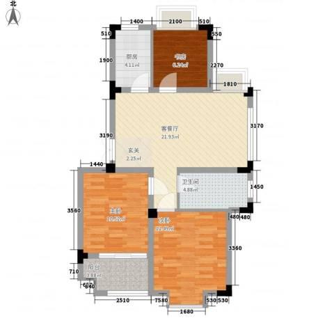 东方华庭3室1厅1卫1厨73.75㎡户型图